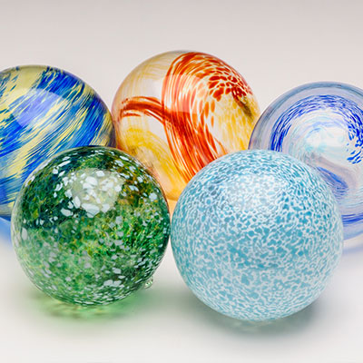 Blown glass holiday ornaments at Pittsburgh Glass Center