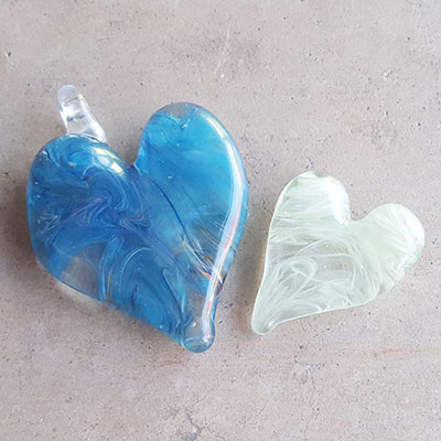 Flameworked heart pendants for Valentine's Day at Pittsburgh Glass Center