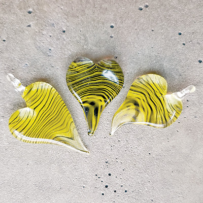 Make a black and gold heart pendant at Pittsburgh Glass Center