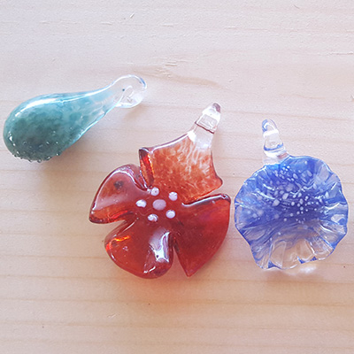 Flower and Egg pendants at Pittsburgh Glass Center