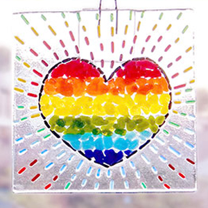 Fused glass suncatcher kits from Pittsburgh Glass Center