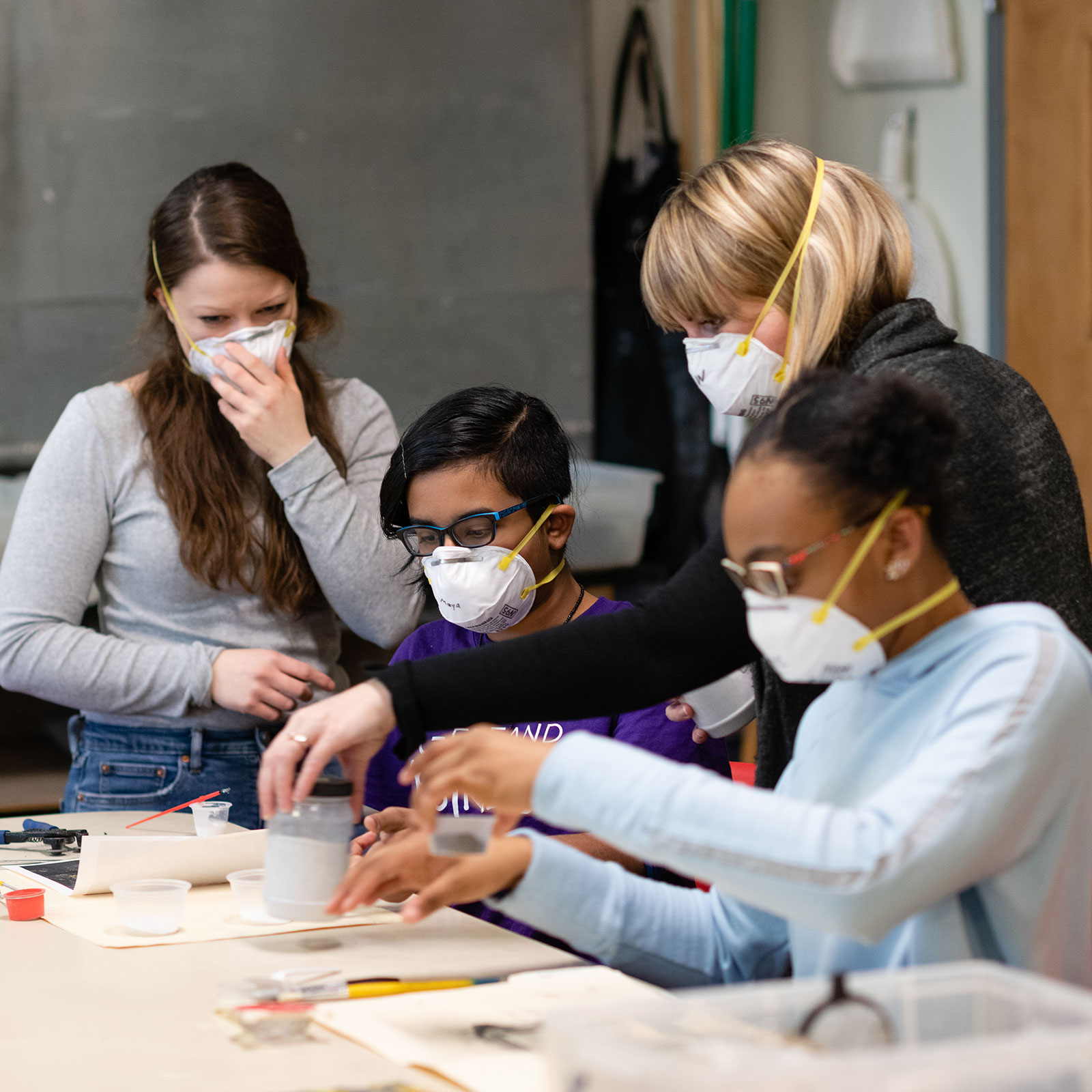 Small group activity in the kiln shop
