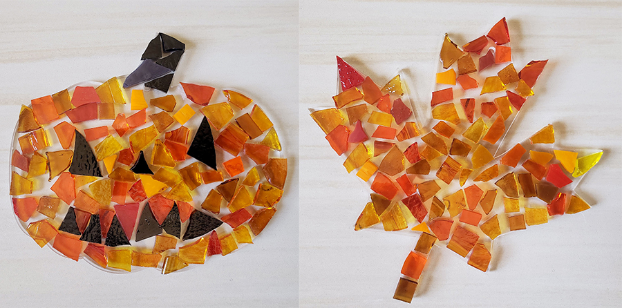 Mosaic pumpkin and leaf