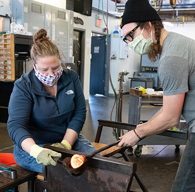 Hot Glass Sculpting Pod Classes at Pittsburgh Glass Center during COVID