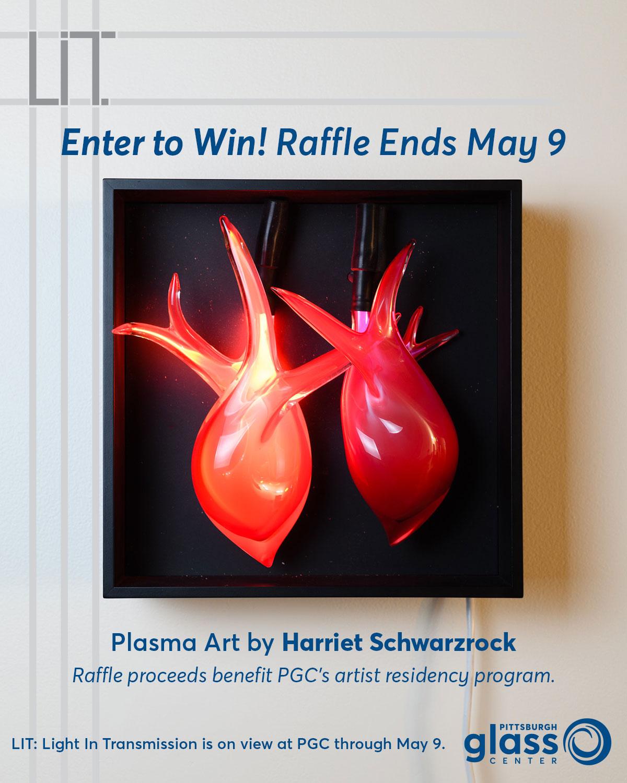 Raffle of spaces between: crimson paired heart forms by Harriet Schwarzrock