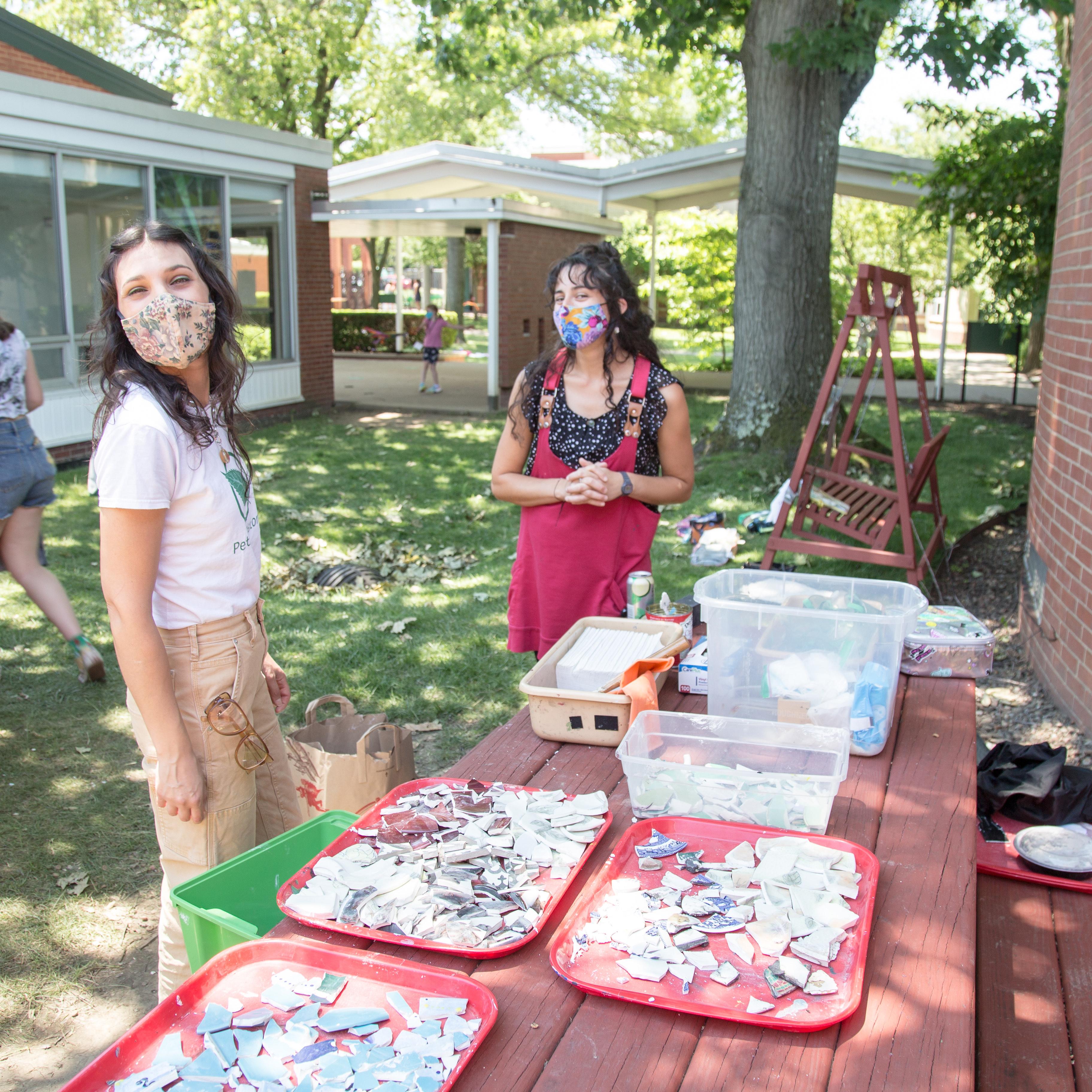 mosaic making at school