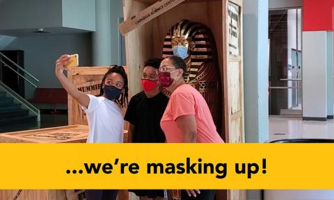 "Thumbnail from the #Maskup video reading ""we're masking up!"""